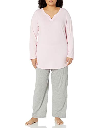 Just My Size Women's Plus Size Split Neck Tunic, Paleo Pink, 4X
