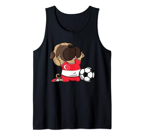 Pug Singapur Ftbol Fans Jersey Singapur Los amantes del ftbol Camiseta sin Mangas