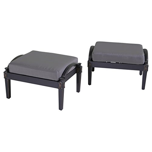 RST Brands Astoria Club Ottomans with Cushions, Charcoal Grey, Set of 2
