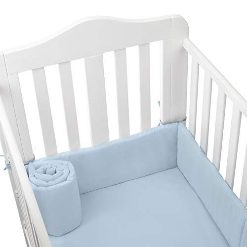 Great Features Of BabyDoll Tailored Cradle Bumper, Light Blue, 15x33