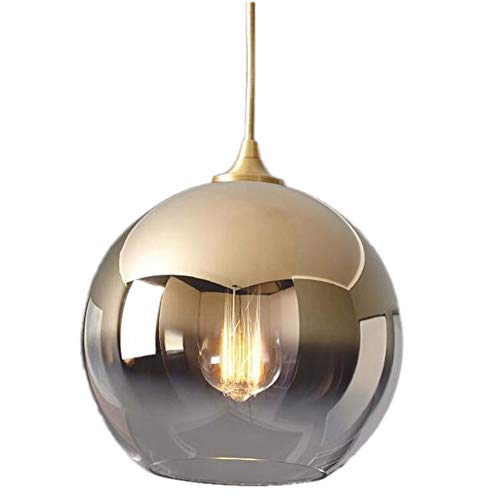 XLNB Moderne Globe Pendelleuchten, Verstellbare Deckenleuchte in Kugelform Mit Spiegellampenschirm Aus Poliertem Glas, Für Küche, Esszimmer, Bar,30cm