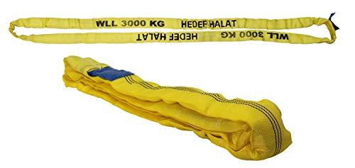 Rundschlinge 3000kg Tragkraft, 3m Umfang, endlos mit Polyesterkern, Hebegurt Hebeband, Gelb