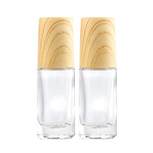 CHICAI De Viaje Esencial Botella de Aceite de Rodillos poligonales claras frascos de Cristal for cosméticos Perfumes Aceites Esenciales de aromaterapia (Size : 5ml x 2)