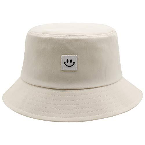Smile Face Bucket Hat for Men Summer Travel Bucket Beach Sun Hat Outdoor Cap Beige