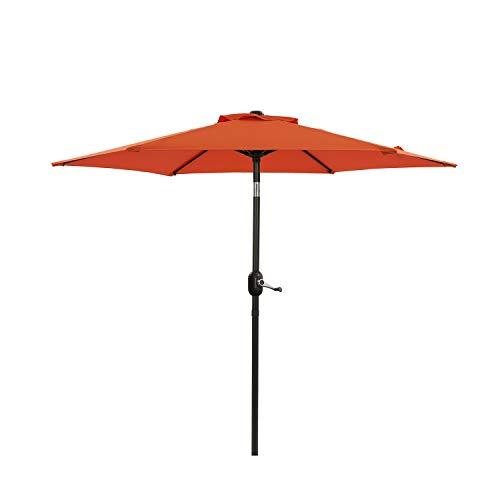 MISSBRELLA 7.5ft Patio Umbrella Outdoor Umbrella Patio Market Table Umbrella with Tilt and Crank Waterproof Sunshade Canopy 6 Ribs for Garden, Lawn, Deck, Backyard & Pool, Orange