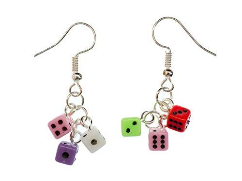 Miniblings 3er Würfel Mini Black jäck Gaming Ohrringe - Handmade Modeschmuck I Kasino Brettspiel Spielzeug - Ohrhänger Ohrschmuck versilbert
