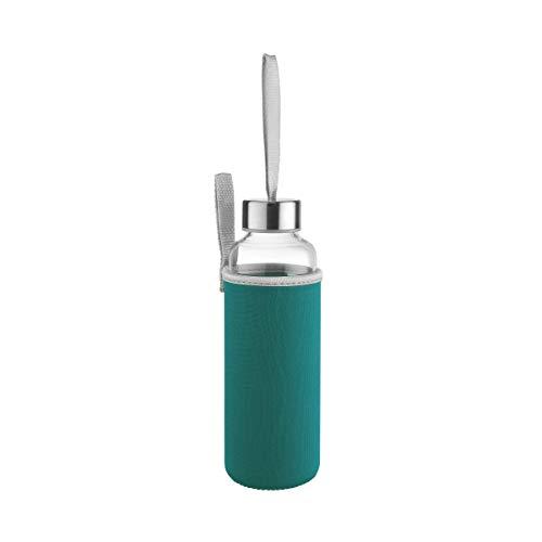 BUTLERS Smoothie Trinkflasche 500ml mit Neopren-Tasche in Blau - Glasflasche, Wasserflasche, Sportflasche - Heißgetränke