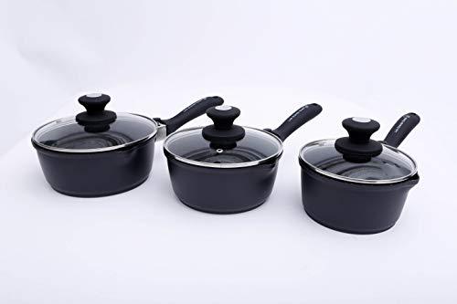 Les Grands Chefs Professionnel - Lot de Casseroles Sauteuses 16, 18 et 20 Cm - Poignée Amovible - Tous Feux Dont Induction - Antiadhésif