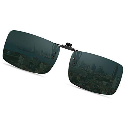 クリップオン 偏光サングラス UV400 紫外線カット 超軽量 スポーツサングラス 跳ね上げ式 前掛けクリップ式サングラス ドライブ/野球/自転車/釣り/ランニング/ゴルフ/運転 男女兼用 偏光グラス