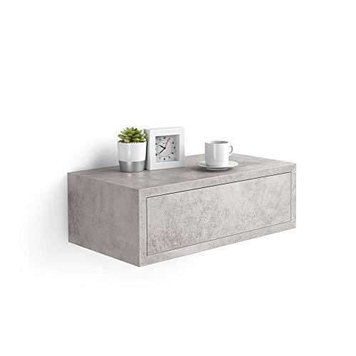 Mobili Fiver, Comodino sospeso Riccardo, Cemento, Nobilitato, Made in Italy, Disponibile in Vari Colori