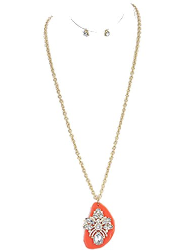 Beyoutifulthings Dames RVS halsketting vergulde hanger bloem samengesteld uit zirkonia helder op plaat acryl rood lengte 76,2 cm 1 paar oorbellen knopen verguld zirkonia helder 7,6 cm set