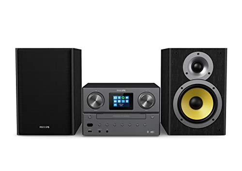 Philips M8905/10 Mini Stereoanlage mit Bluetooth und Internet Radio DAB+/UKW (USB, Spotify Connect, CD, MP3-CD, 100 W, Bassreflex-Lautsprechersystem, Digitale Sound Kontrolle) - 2020/2021 Modell