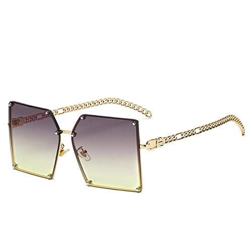 NJJX Gafas De Sol Cuadradas De Gran Tamaño A La Moda Para Mujer, Lentes De Color Teñidas Para Mujer, Gafas De Sol Retro Para Mujer, Cadena Elegante, Gris, Verde
