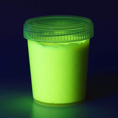 decomonkey   90 ml Fluoreszierende Schwarzlicht Wandfarbe und für Kunst, Holz, Papier und Wohnraum   Neon Leuchtfarben mit Glow-Effekt   Fluoreszierende Farbe   Farbe: hellgelb