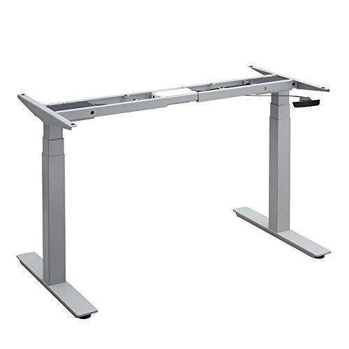Balderia Patas de mesa ajustables en altura – Escritorio eléctrico ajustable – Estructura de mesa con doble motor – Altura 62,5 – 128,5 cm, gris