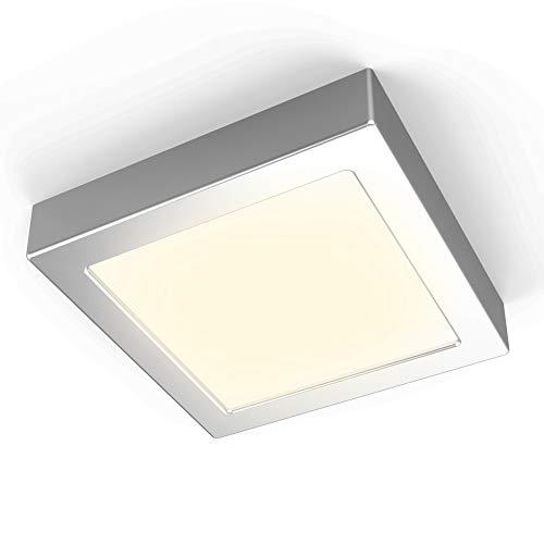 B.K.Licht I 12W Deckenleuchte I 900lm LED Platine I 170x170x32mm I LED Aufbauleuchte I Aufputzleuchte I 3000K Warmweiß I Silber-Matt