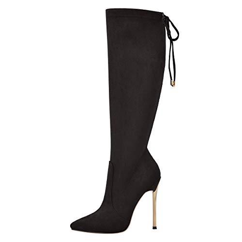 MissHeel Damen Stilettos Slouch Boots Shin Length Boots Suede Schwarz EU 43