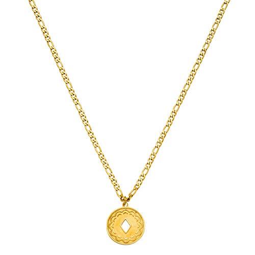 PURELEI® Lolani Halskette (Gold, Silber & Rosegold) Mit Anhänger (40 cm Länge) (Gold)