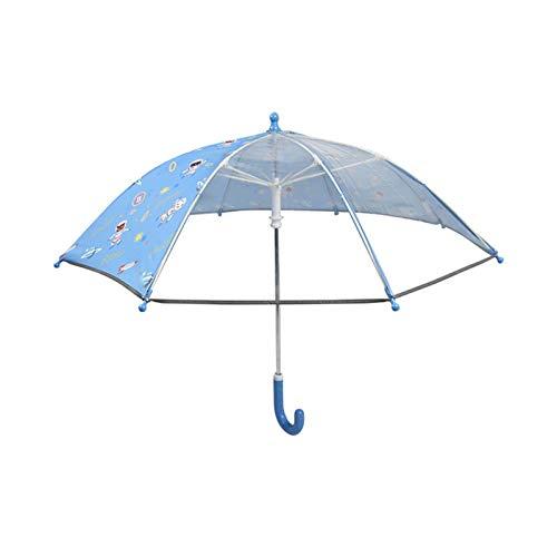 WGG Kinderschirme Anti-Quetschen Langer Griff Transparenter, Gewölbter, Abgerundeter Cartoon-Regenschirm Für Frauen Und Kinder (Color : Blau, Größe : 16 Zoll)