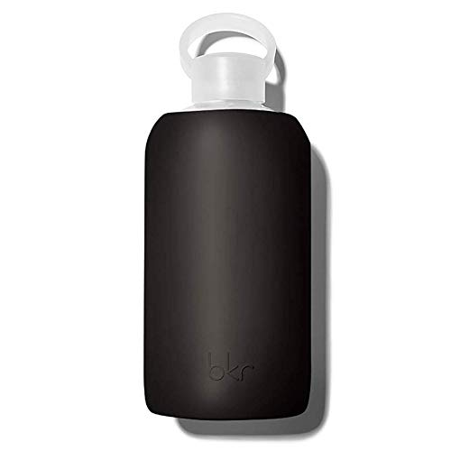 bkr Little Smooth Jet - 16oz - Glass Water Bottle - Jet Black - Dishwasher Safe - Removable Silicone Sleeve - BPA Free