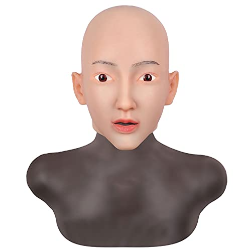 AJIU Máscara de Cabeza de Silicona Realista, potenciador de Rostro Femenino Hecho a Mano Artificial para transgénero, Cosplay, Fiesta de Halloween, travesti,Nude,with Makeup