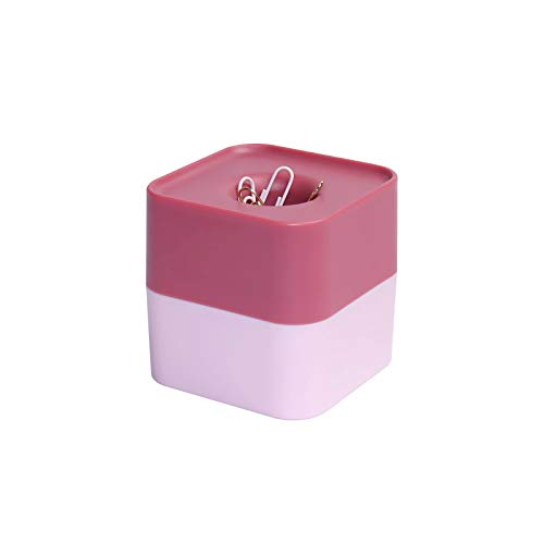 Square Magnetic Paper Clips Holder with 100 Pcs Light Pink N Gold 28mm Paper Clips 2 Colors Clips Dispenser Cute Desk Organizer for Home School N Office Supplies (Red&Light Pink)