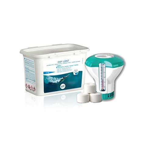 Oxígeno activo Gre en pastillas de 20 g – OXI Lent 1,2 kg + dosificador flotante con termómetro. Ideal para piscina y spa de hidromasaje.