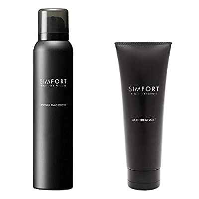 SIMFORT Carbonic Acid Shampoo 5.3oz & Conditioner 4.2oz Set for Men & Women, Fuller Thicker Stronger Hair Growth and Volumizing, Made with Natural Ingredients, NO Paraben/Sodium/Sulfate, Made in JAPAN