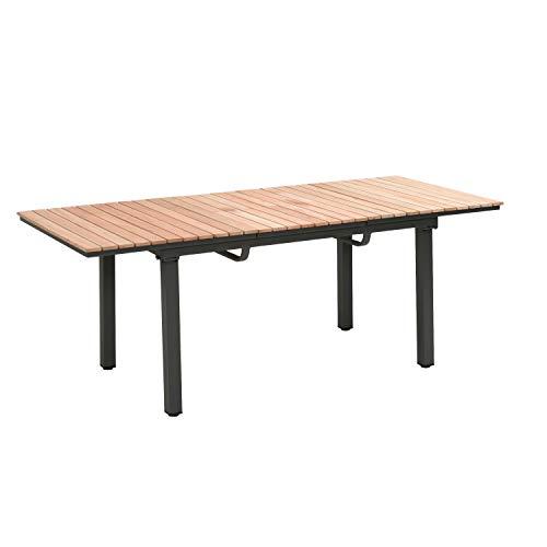 Ribelli Uittrektafel van acaciahout, 160/220 x 76 x 90 cm, tuintafel, eettafel, outdoor tafel, houten tafel
