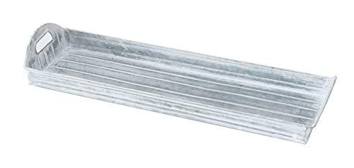 Möbel Jack Serviertablett Dekotablett | Zink | Grau | Weiß | 40 x 12,5 cm