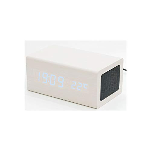 KJCHEN. Altavoz Creativo Bluetooth de Madera Control de Sonido Alarma teléfono móvil Carga led Luminoso Mudo (Color : White)