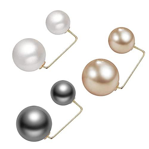 LKSDJ 3 Pares de Broche de Perlas de Moda, Broche de Perlas Artificiales, Broche de Rebeca con Perla de Doble Cabeza, broches y alfileres para Mujer, decoración de Banquete de Boda en casa Tricolor