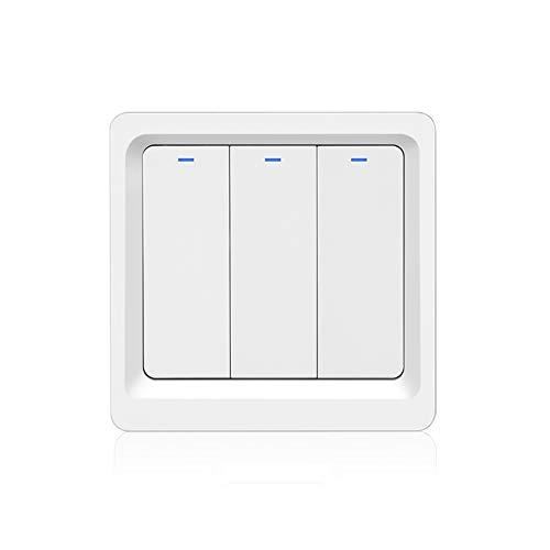 MOES WiFi Smart Lichtschalter Druckknopf Smart Life/Tuya APP Fernbedienung Funktioniert mit Alexa Google Home für die Sprachsteuerung (3 Gang Smart Switch)