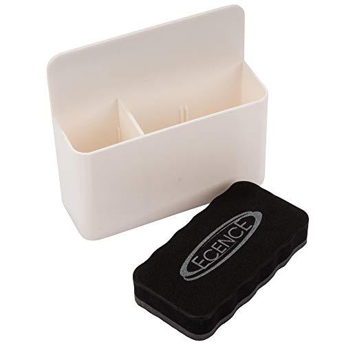 ECENCE Portalápices magnético, soporte para rotuladores en pizarra magnética con 2 compartimentos y borrador para pizarra, ideal para el frigorífico, taquillas y cualquier superficie magnética