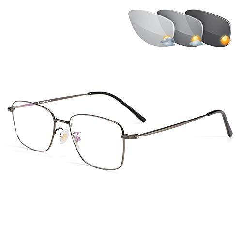 Progressieve Multifocale Nadruk Leesbril Voor Mannen See Heinde En Verre Meekleurende Overgang Uv400 Lenzen Presbyopie Brillen,Gray,+1.00