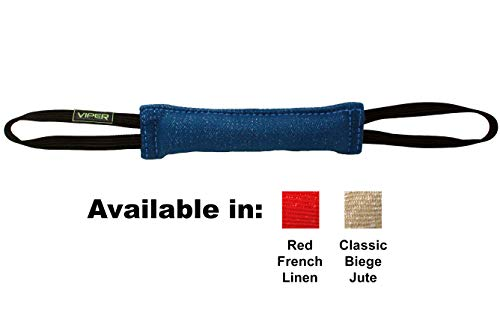 Viper Synthetic K9 Tug Toy Reward with Two Handles for Adult Dogs and Puppies. Ruber Handles, Blue, 12 x 2