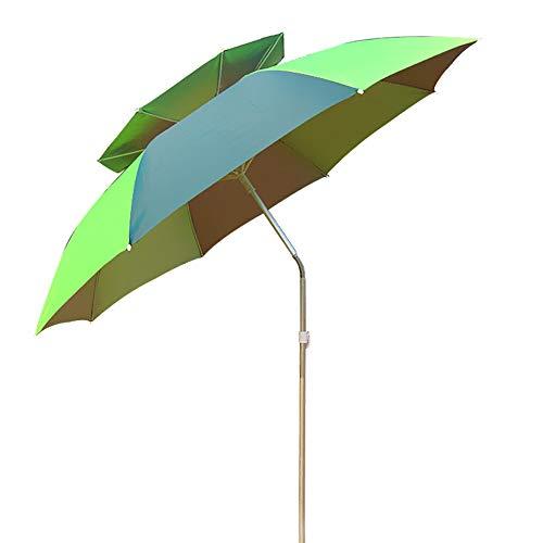 Parasol de Jardin Ø 1,8 m de Plage 360 Extérieur pour Plage Piscine Jardin Ronde Verte UV20+ Crème Solaire