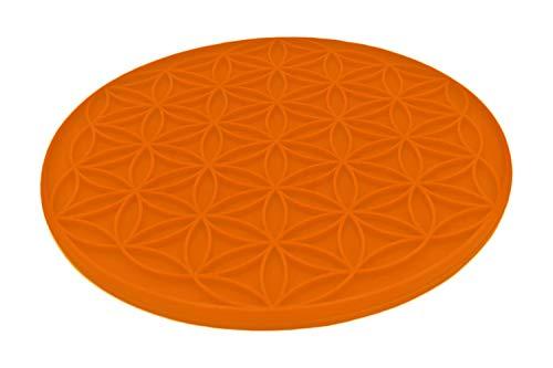 atalantes spirit Blume des Lebens Topfuntersetzer Silikon Sunrise hitzebeständig - Farbe orange, Größe 18cm, rund, 1 Stück - Topflappen Lebensblume