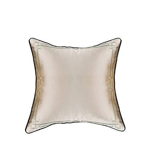 QXbecky Fundas de cojines Funda de almohada cuadrada de franela verde de alta precisión de lujo ligero de estilo chino, funda de almohada de cintura (sin núcleo), almohada redonda decorativa para sofá
