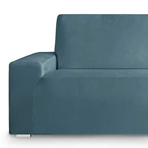 Vipalia Fundas Sofa elasticas. Fundas para Sofas de Terciopelo. Cubre sillón sofá Elastico. Protector Antimanchas. Suave. Lavable. Azul 1 Plaza (75-115cm)