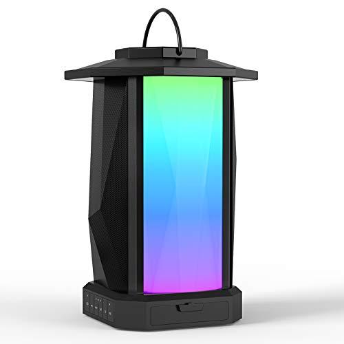 Ortizan Altavoz Bluetooth Inalámbrico X12 del Estilo Retro de la lámpara del jardín con RGB Luz LED, Hay Gran Volumen con Hi-Fi Sonido Envolvente 3D y Graves Potentes, Batería Grande y Impermeable