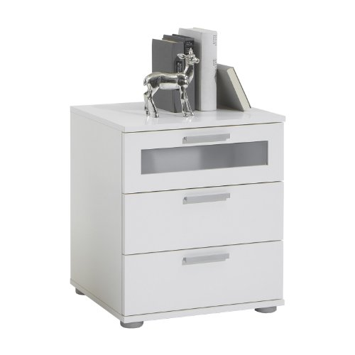 FMD furniture Nachttisch, Spanplatte, Weiß, ca. 45x53,5x38 cm