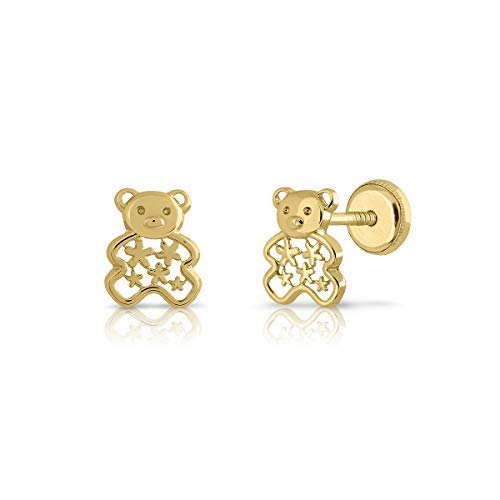 Pendientes oro de ley niña mujer, con diseño de oso o mariposa con calados. (9K- ROSCA)