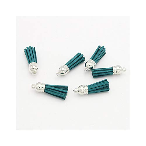 Lou Chapman 12st / 24X Tassel Schlüsselanhänger Handy Straps Schmuck Anhänger 4cm Ledertroddeln mit Silber Caps, Color15 12st