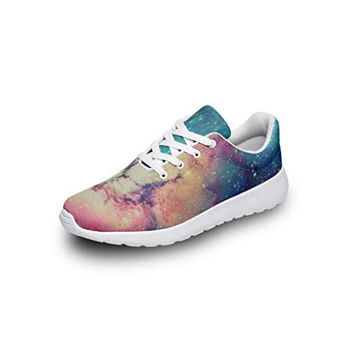 XHJQ8 Nebula Unisex Mädchen Laufschuhe – Galaxy Casual Sommer Schnürung Sneaker, atmungsaktiv, leicht, Laufschuhe, Weiß - weiß - Größe: 46 EU