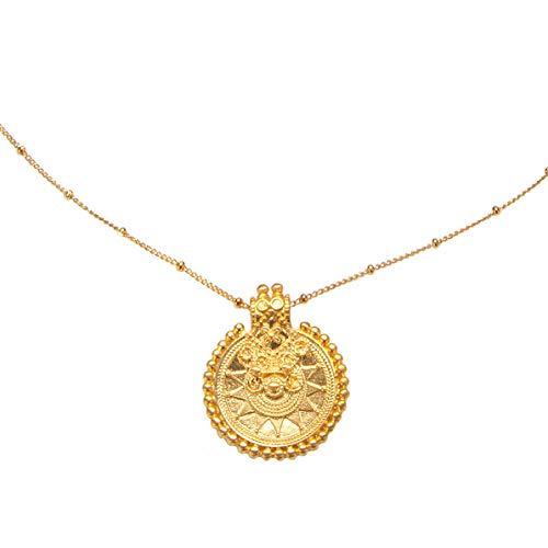 Satya Jewelry Extra Lange Kette Damen Gold - Mandala Coin Necklace - ca. 90 cm lang Silber 925 Vergoldet - NG188-L36-B
