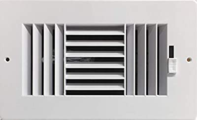 """HBW Three-Way Plastic Side Wall/Ceiling Register in White 8"""" w X 4"""" h for Duct Opening (Outside Dimension is 9.75"""" w X 6"""" h)"""