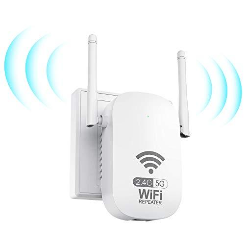 Getue Répéteur WiFi Amplificateur WiFi sans Fil Puissant, AC1200 WiFi Répéteur sans...