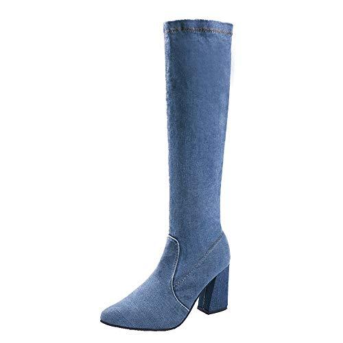 MEHOUSE Bottes Femme en Cuir à la Mode Hiver Élégant Bottes Doux Longue Bottes Boots à Talons en Coton élastique Bottes en Jean sur Le Genou Pointu Talon épais Bottines Taille: 35-40