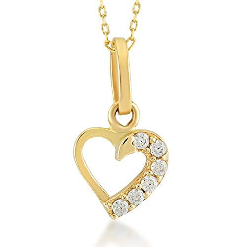 Damesketting van 14 karaat – 585 echt geelgoud ketting met harthanger, hartje gouden ketting hart, zirkonia steentjes, cadeau voor Valentijnsdag verjaardag Kerstmis – ketting 45 cm